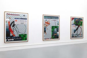 Arno Beck 3 paintings on white wall